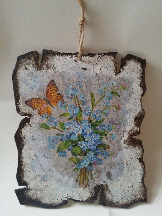 Decoupage Flowers Plaque