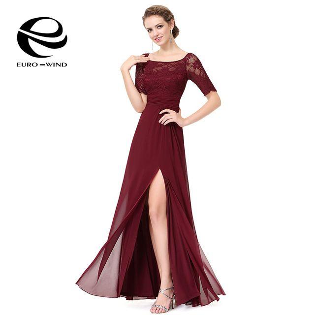 2016 Del Otoño Del Verano de La Vendimia Elegante Vestido de Encaje de Las Mujeres de manga Corta Vestido Maxi Vestidos Maxis de Largo Vestido de Gasa con Split Vestidos
