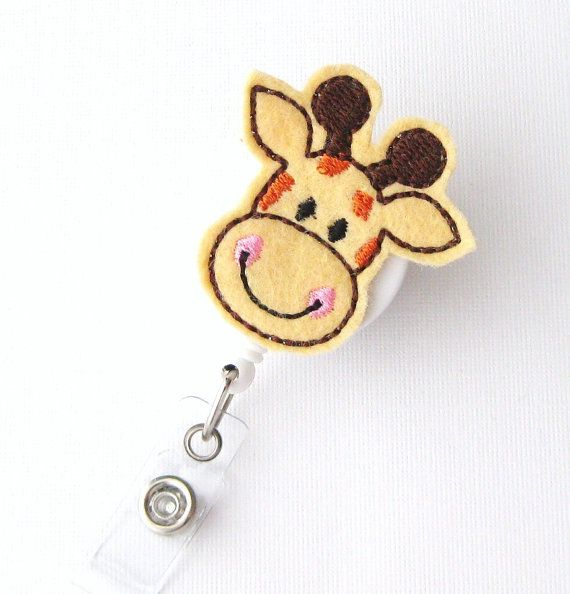 Giraffe Pediatric Nurse Name Badge Holder  Felt Badge Clips Cute Badge Reels Teacher Lanyards RN Gifts by BadgeBlooms, $7.00