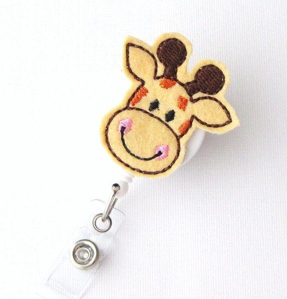 Giraffe  Name Badge Holder  Cute Badge Reels  by BadgeBlooms