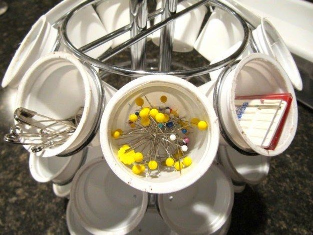 Or sewing supplies.   33 Genius Ways To Reuse Your K-Cups