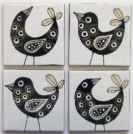 Black and Gold Bird handpainted tile art