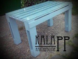150x80-as matt szürke étkezőasztal, üvegezve / grey DIY pallet table with glass