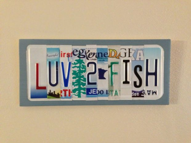 Custom personalized recyled license plate art sign made to for Buy colorado fishing license