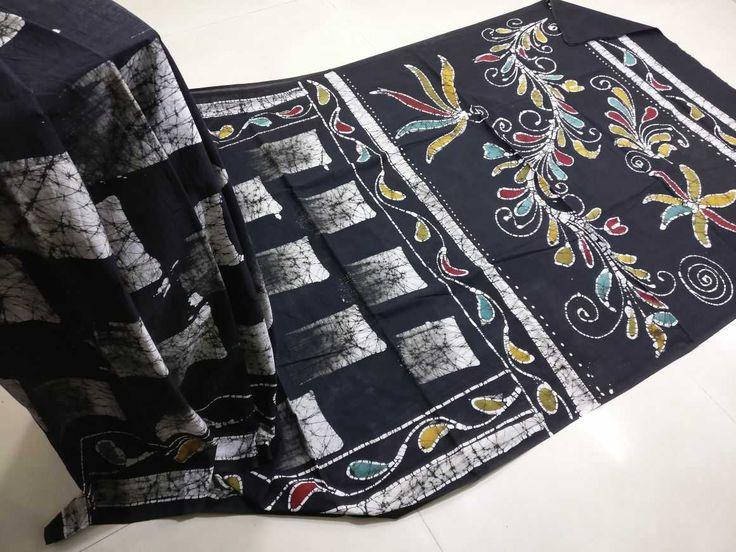 Exclusive new hand block printed cotton batik print sarees
