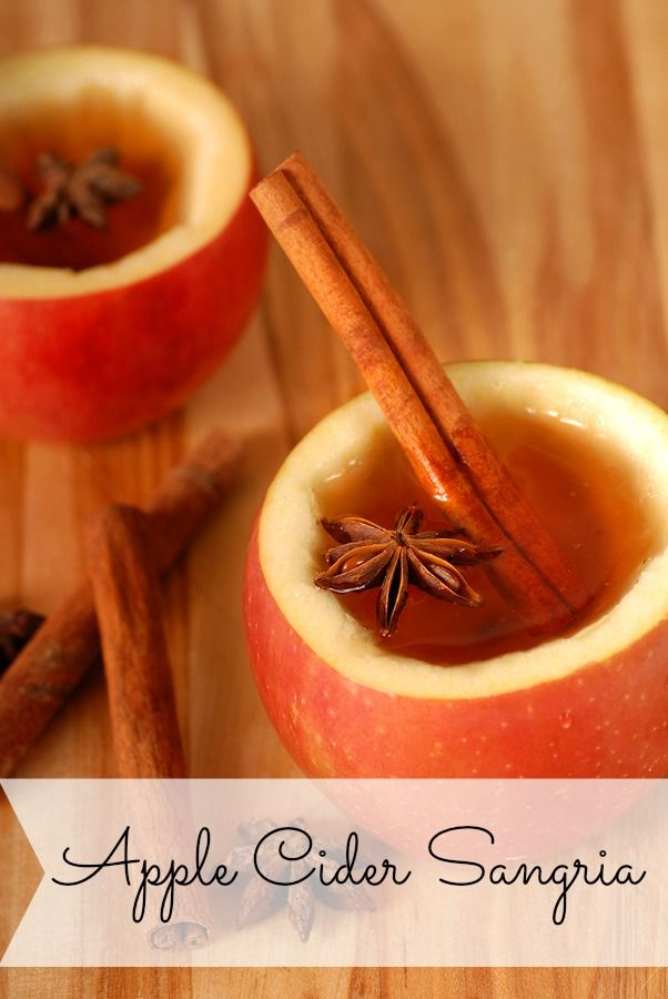 Apple Cider Sangria Add a cinnamon stick in each glass for flair!