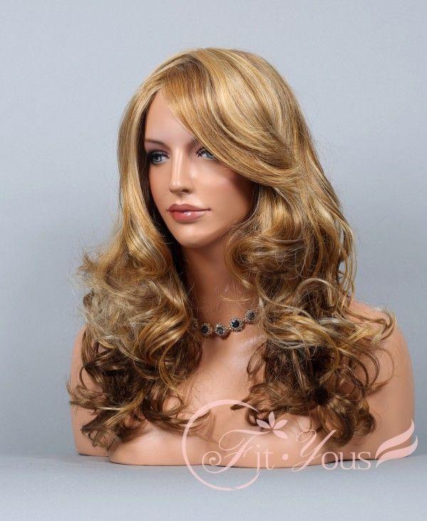 Blonde & Auburn 3 Tone Mix Wigs for women Long Wavy Curly bangs Curls wigs - Wigs