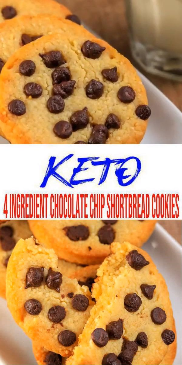 4 Ingredient Keto Cookies – BEST Low Carb Keto Chocolate Chip Shortbread Cookie Recipe – Easy NO Sugar – Gluten Free
