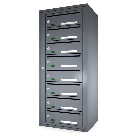 Svenskboxen 1x8  Article number:   SVB18-9995-1000    En komplett postbox med marknadens högsta säkerhetsklass. Svensk-boxen är förberedd för ellåsinstallation som standard och uppfyller användbarhetskraven från Bygg klokt för personer med funktions-nedsättningar.        Svenskboxen är den enda postboxen på marknaden som erhållit den högsta säkerhetsklassen (säkerhetsklass II) vilket innebär att den motstår inbrottsförsök bäst av alla boxar.