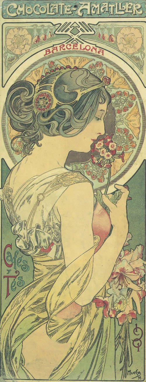 Alphonse (Alfons) Mucha - Illustration - Art Nouveau - Barcelona, Chocolate  Amattler
