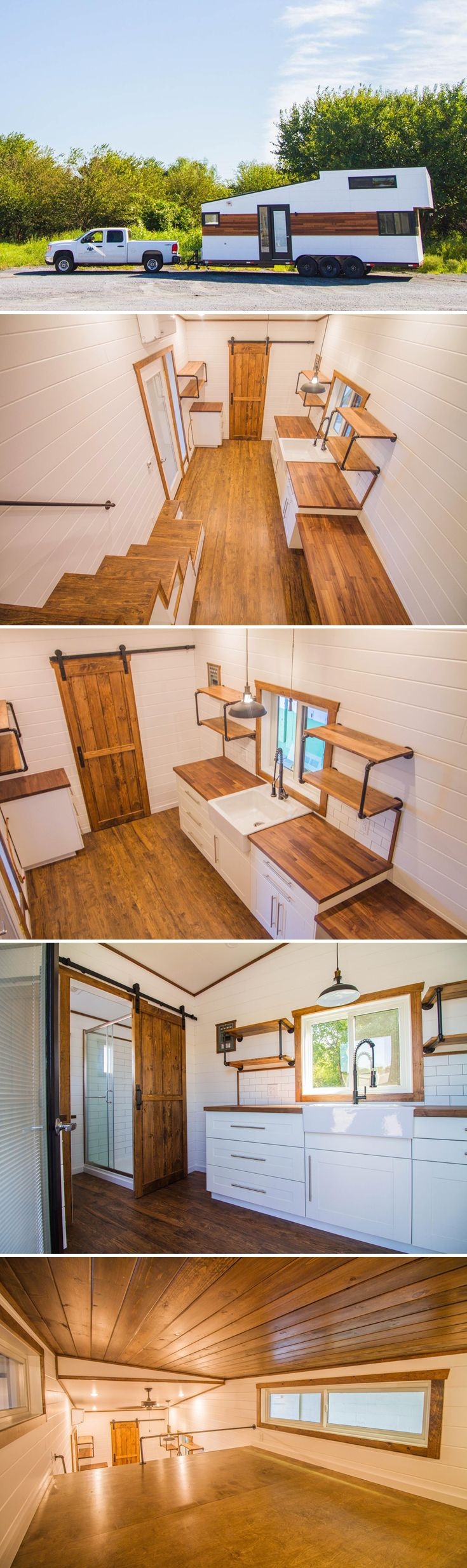 Liberation Tiny Homes combined their Alpha and Modern Farmhouse models to create the 28-foot White Modern Farmhouse with cedar accents.