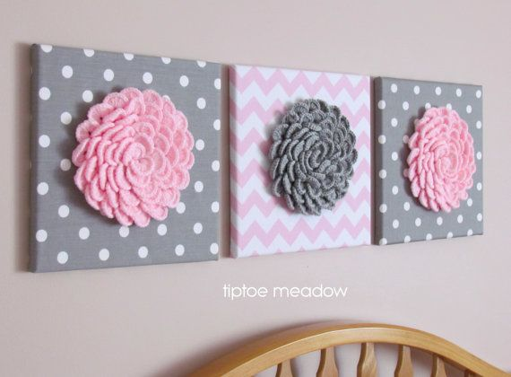 Set of 3 Wall Flower Crochet Blossom 12x12 Canvas by TiptoeMeadow