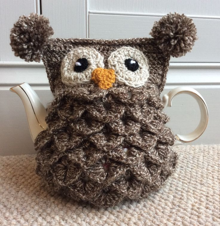 Crochet owl tea cosy using crocodile stitch Owl Crochet Pinterest Stitc...