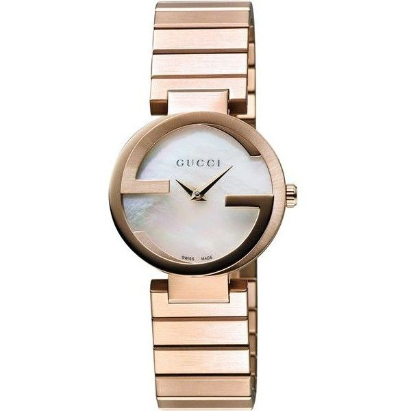 Pre-Owned  Interlocking Rose Goldtone Stainless Steel Watch (£665) ❤ liked on Polyvore featuring jewelry, watches, stainless steel jewelry, gucci wrist watch, gold-tone watches, interlocking jewelry and stainless steel jewellery