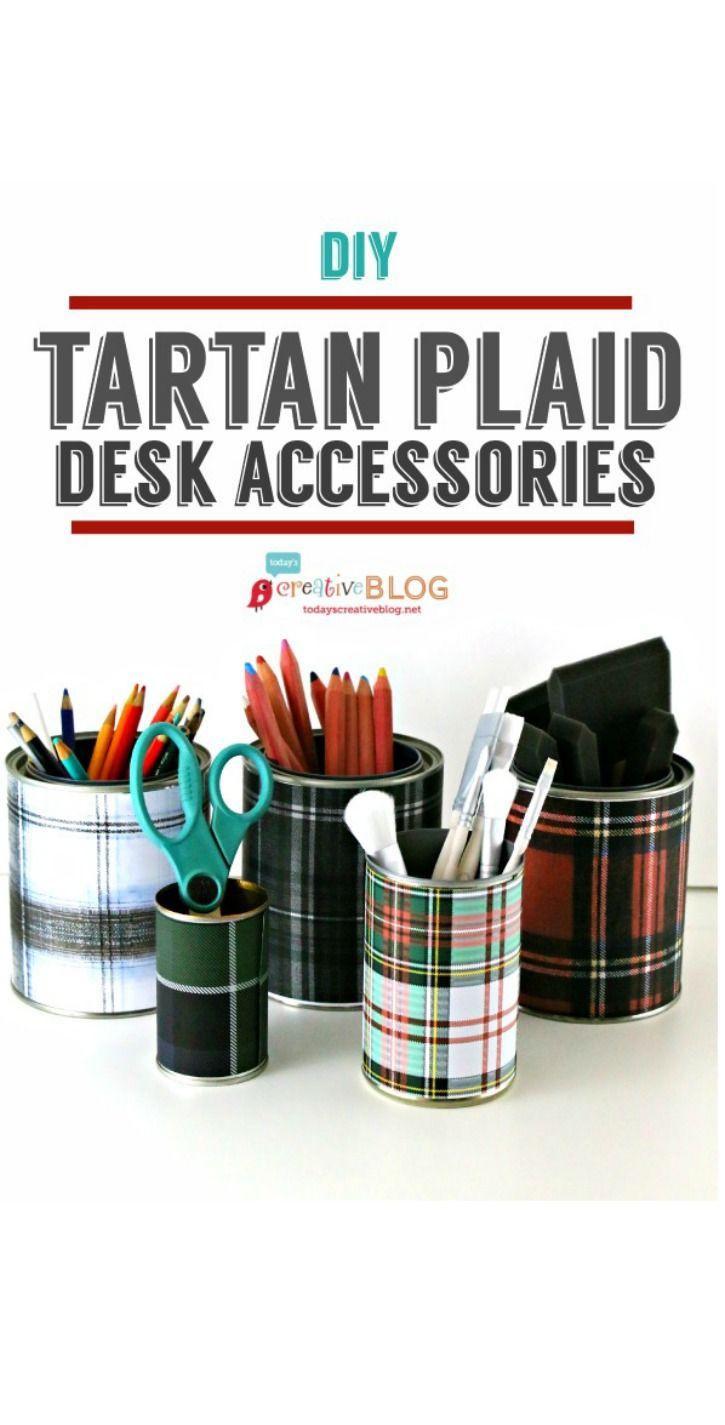 DIY Tartan Plaid Desk Accessories with tutorial
