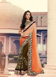 Olive & Orange Color Designer Sari With Gorgeous Embroidery Work