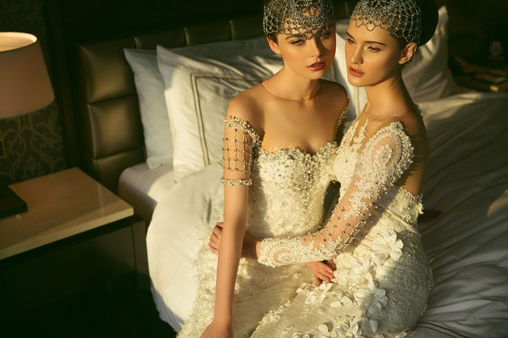 Asky Febrianti Wedding Gown for IFW 2015 : Petal.  photographer : Sharon Angelia // model : Ira & Oksana (21mm) // mua : Richard Theo // stylist : Alia Husin.  www.sharonangelia.com