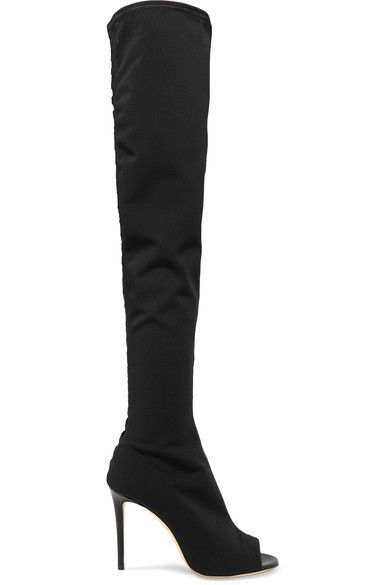 Jimmy Choo - Desai Leather-trimmed Mesh Over-the-knee Boots - Black