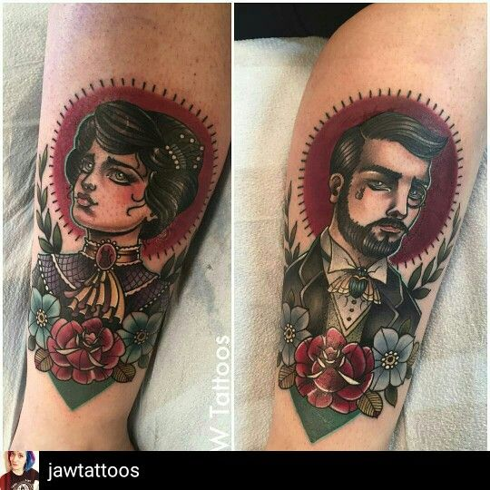 Neotraditional Lady and Gentleman Tattoos by @jawtattoos