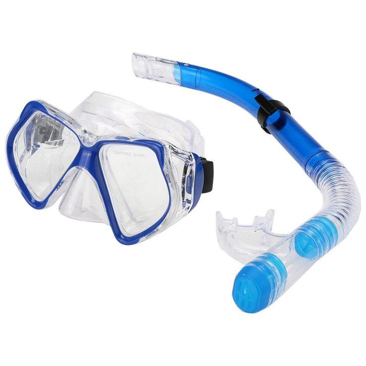 2016 New Scuba Diving Equipment Swimming Glasses/ Mask + Dry Snorkel Set Scuba Snorkeling Gear Kit blue/ yellow