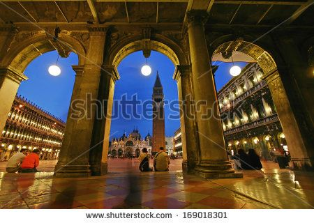 San Marco square at blue hour, Venice - stock photo