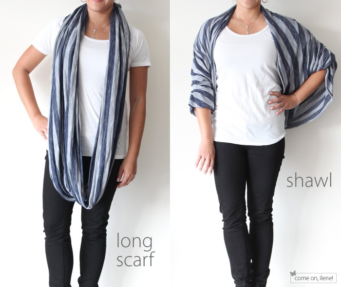 long scarf doubles as shawl