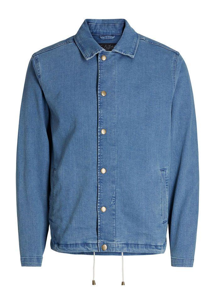Workwear style light blue denim jacket with drawstrings at hem | JACK & JONES