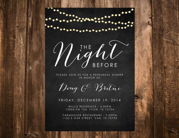 Pre Wedding Dinner Invitation: Chalkboard & Lights Rehearsal Dinner Invitation; The Night