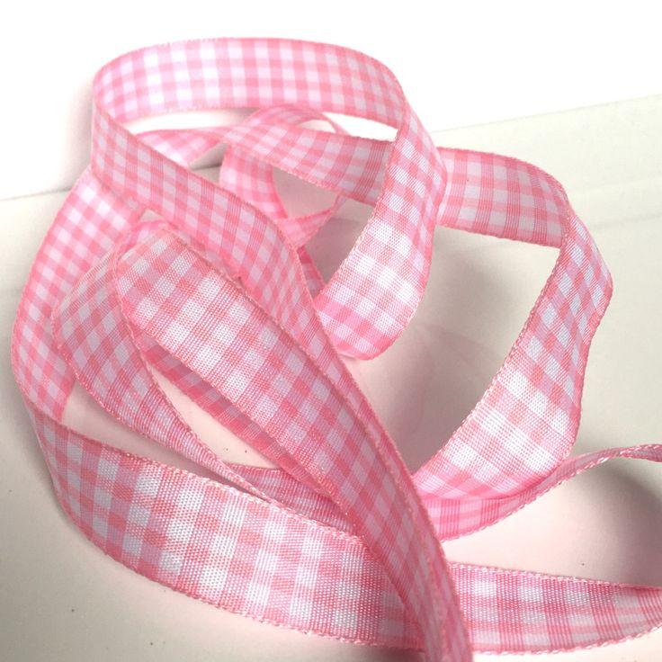 5M, pink gingham check ribbon, pink plaid ribbon, 15mm ribbon, pink check ribbon, baby pink ribbon, gingham ribbon, plaid ribbon, crafts uk by Buttonsheduk on Etsy