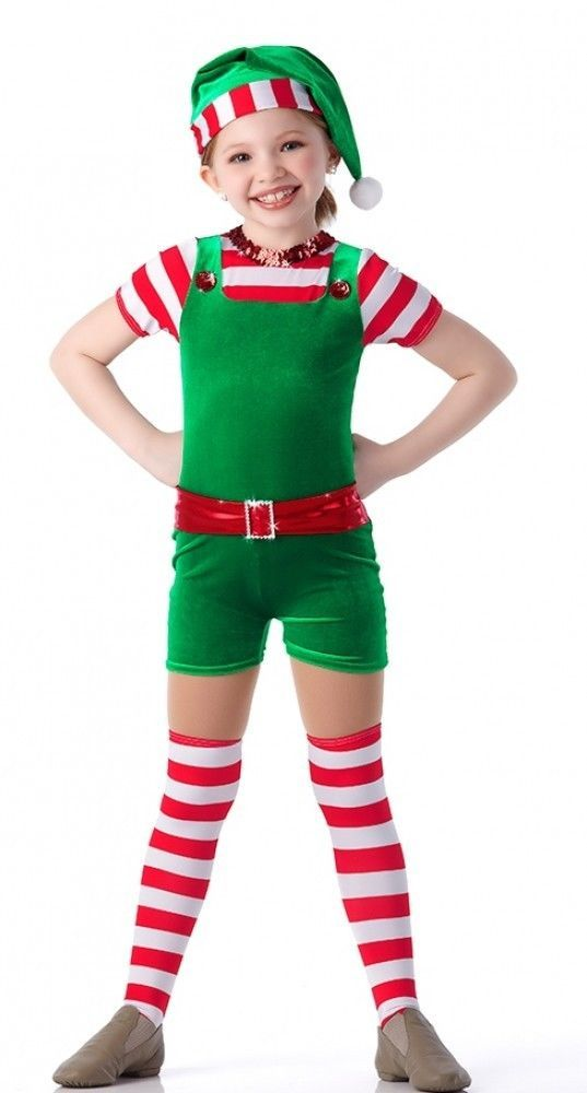 SANTA'S LITTLE HELPER ELF Christmas UNITARD ONLY Dance Costume Child & Adult NEW #Cicci