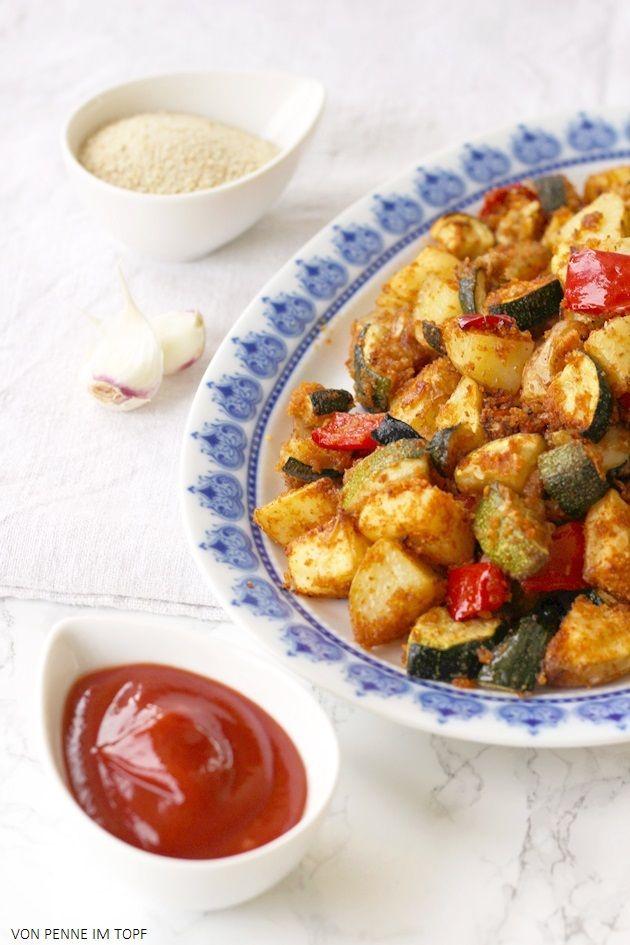 Penne im Topf: Super knuspriges Kartoffel - Zucchini - Gemüse aus dem Ofen