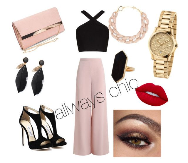 """""""for a work-dinner"""" by yangui-sarra on Polyvore featuring mode, Zimmermann, BCBGMAXAZRIA, New Look, DIANA BROUSSARD, Jaeger, Gucci et Lime Crime"""