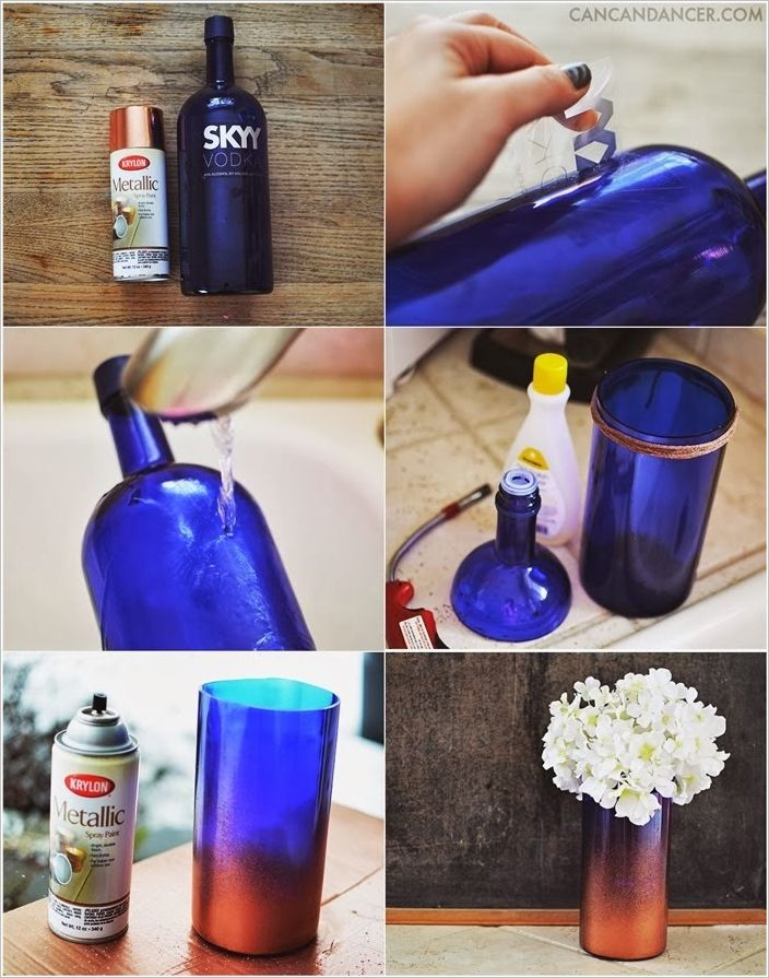 This Awesome Gradient Vase is Made Just from a Recycled Glass Bottle
