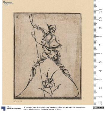 Masken und weit ausschreitende männliche Gestalten aus Schotenwerk     Folge      Ia. Ph. Har?, Inventor     Jacob Custos (Schaffenszeit: 1601-1650), Stecher? & Verleger     1628      Material: Papier     Höhe x Breite: 10,0 x 8,0 (Platte)