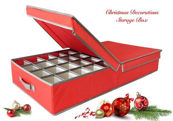Christmas Decorations storage Box  Red 76cm x 39cm x 12.5cm