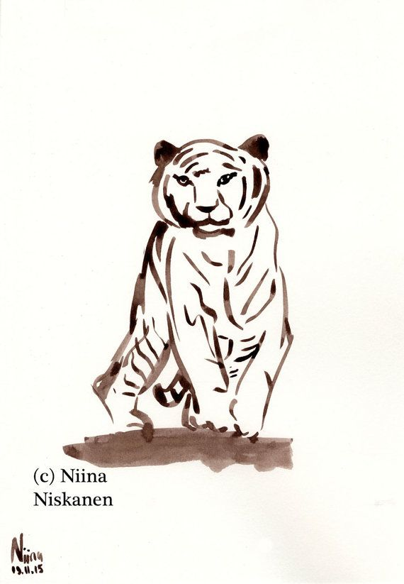 Original Painting Approaching Tiger Feline Wildlife Big Cat Animal Art Ink Painting by Niina Niskanen