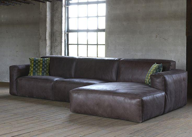 Lounge bank Elise in vintage leder. Stoere, robuuste bank met shabby uitstraling en een geweldig zitcomfort.