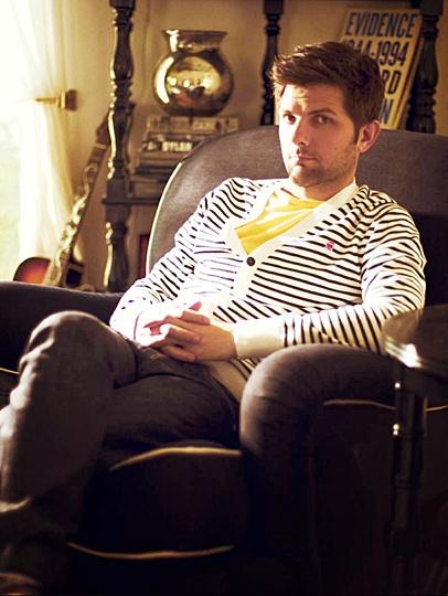 Adam Scott wearing a pansy-ass cardigan. Yessir.