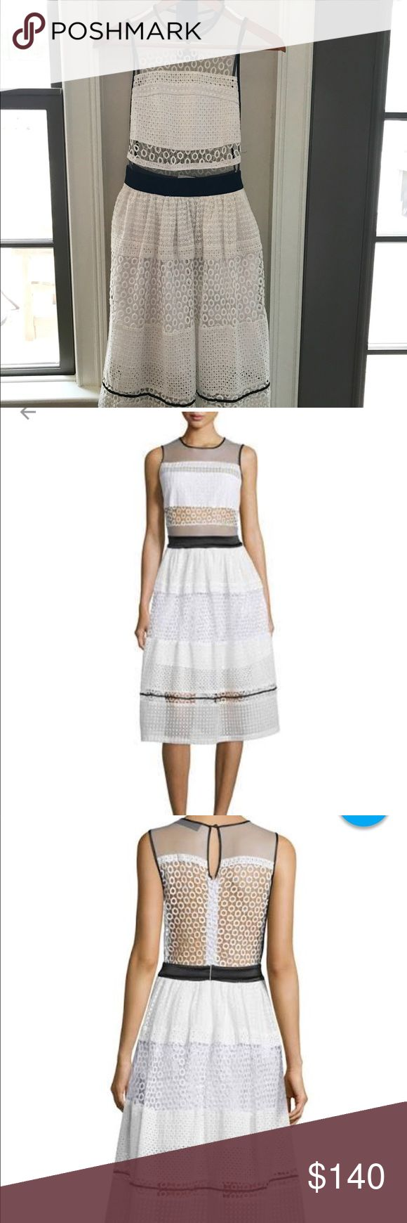 Kendall + Kylie Black and White Sheer Panel Dress Kendall + Kylie sheer panel dress in black and white, sized small. Never worn, with tags attached. Looks like Self Portrait. I got this dress for graduation in the hopes that I could fit into it but I didn't lose any weight... 💁🏻 Kendall + Kylie Dresses Midi