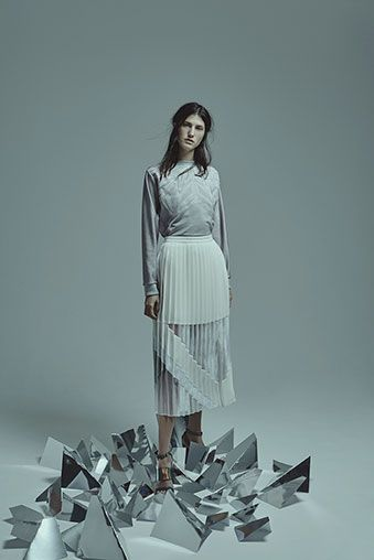 AW15 | Georgia Hardinge |   Hardinge usual eschews printing by looking at how fabric manipulations can be used to create line, shape and form. The combination of fabrics to be pleated falls into her feminine approaches for garment making, with fabrics that suggest softness and shapes that add a contemporary edge