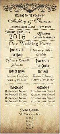 Vintage Rustic Typography Wedding Programs Template perfect for a rustic country wedding. Two Sided Vertical Wedding Programs.  #wedding