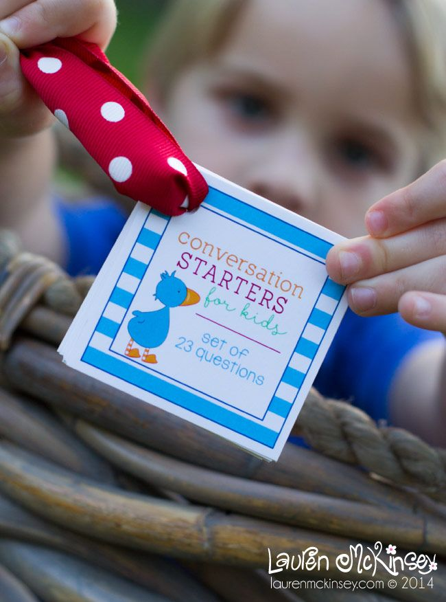 Conversation Starters For Kids - free printable
