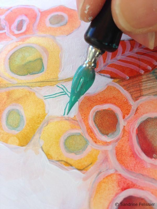 How to paint flowers with mixed media on yupo paper : Orange Blossoms  by SANDRINE PELISSIER on ARTiful, painting demos