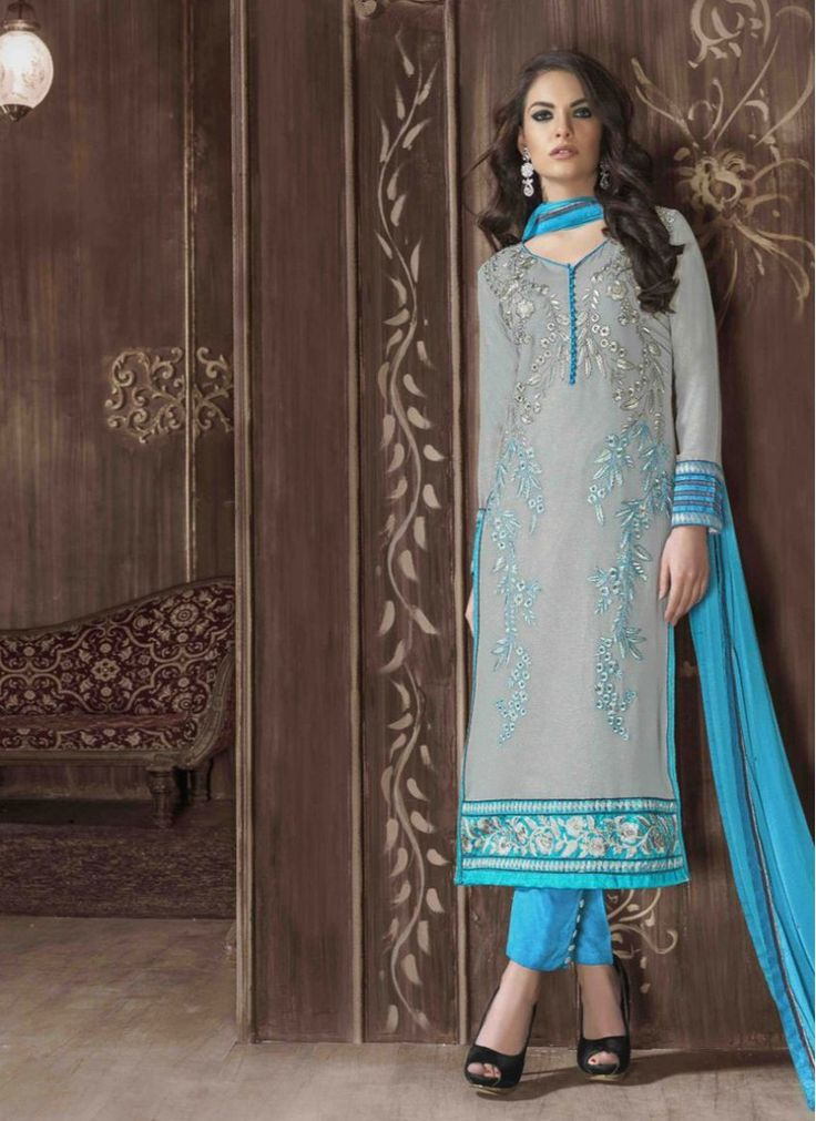 Staring Georgette Embroidered Grey and Turquoise Trendy Churidar Salwar Kameez