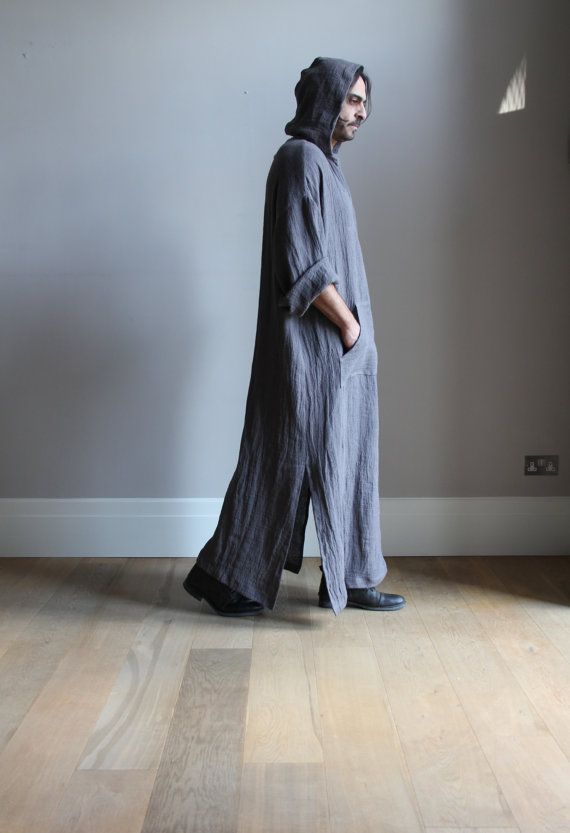 Elephant Grey mens Kaftan. Pure wrinkled linen mens tunic. Contemporary design hooded caftan.