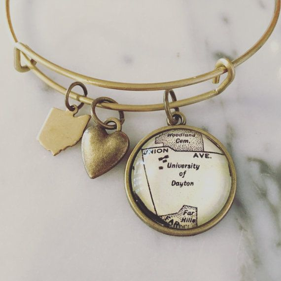 University of Dayton Map Charm Bangle Bracelet - Personalized Jewelry - Stacked…