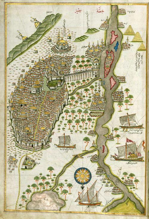 A map of Egyptby Ottoman admiral and cartographer Piri Reis in Kitab-i Bahriye,16 century.