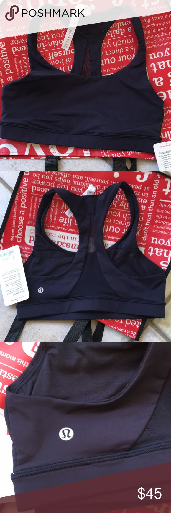 Lululemon Navy Sports Bra NWT!!! Lululemon Navy Sports Bra! The Invigorate Bra, has a sheer back! Size 8 lululemon athletica Intimates & Sleepwear Bras