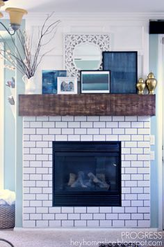 subway tile fireplace - Google Search