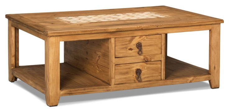 Add a little rustic flavour to your home with this Santa Fe Rusticos coffee table. The natural pine wood and metal hardware complement the light marble inset for a beautifully vintage-styled piece. With two drawers, you won't have to worry about losing your TV remote or extra batteries again. Plus, the two lower shelves offer many possibilities for stacking your favourite books or decorating with rustic accent pieces.